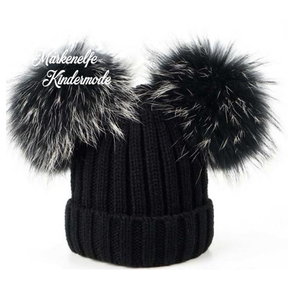 offizielle Bilder kaufen akribische Färbeprozesse Accessoires : Mütze in Schwarz mit 2 Bommel